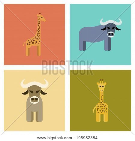 assembly of flat icons nature giraffe bull