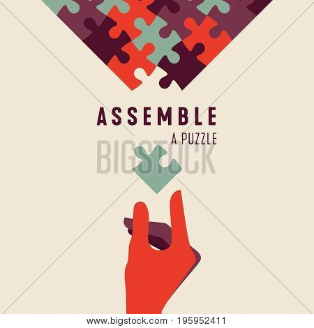 Assemble a Puzzle and hand vector graphic poster. Jigsaw Concept of programming ordered system teamwork unity partnership or company.
