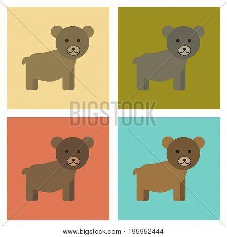 assembly of flat icons nature cartoon bear
