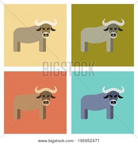 assembly of flat icons nature cartoon bull