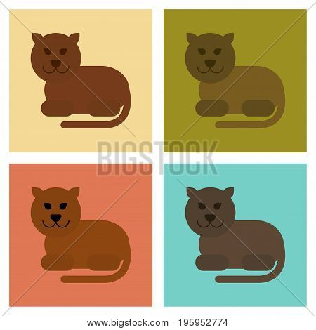 assembly of flat icons nature cartoon panther