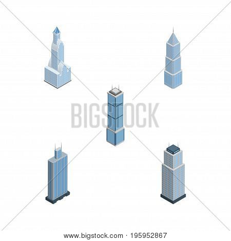 Isometric Construction Set Of Cityscape, Exterior, Business Center And Other Vector Objects