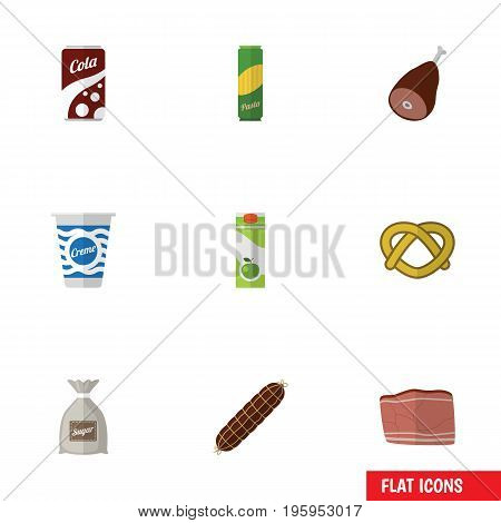 Flat Icon Meal Set Of Packet Beverage, Smoked Sausage, Meat And Other Vector Objects