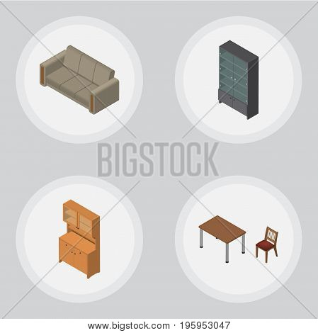 Isometric Furniture Set Of Couch, Sideboard, Chair And Other Vector Objects