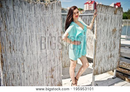 Young Gorgeous Woman Having Fun In The Changing Room By The Lake.