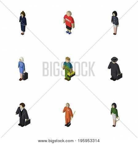 Isometric People Set Of Businesswoman, Investor, Guy And Other Vector Objects