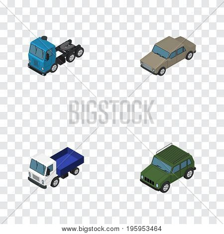 Isometric Car Set Of Armored, Lorry, Truck And Other Vector Objects