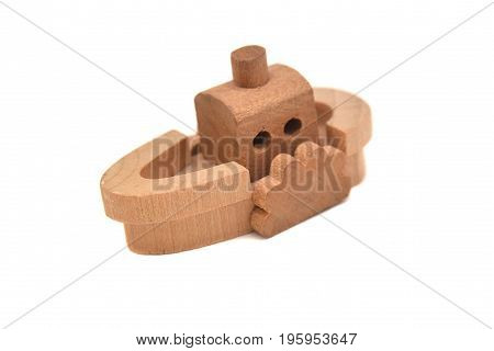 wooden toy ship isolated on white background