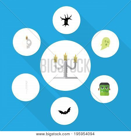 Flat Icon Festival Set Of Candlestick, Cranium, Terrible Halloween Vector Objects
