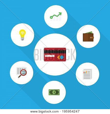 Flat Icon Gain Set Of Billfold, Growth, Scan And Other Vector Objects