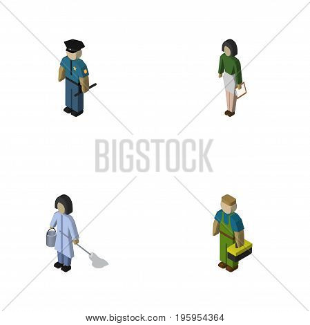Isometric Person Set Of Officer, Housemaid, Pedagogue And Other Vector Objects