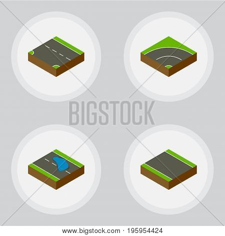 Isometric Road Set Of Plash, Without Strip, Downward And Other Vector Objects