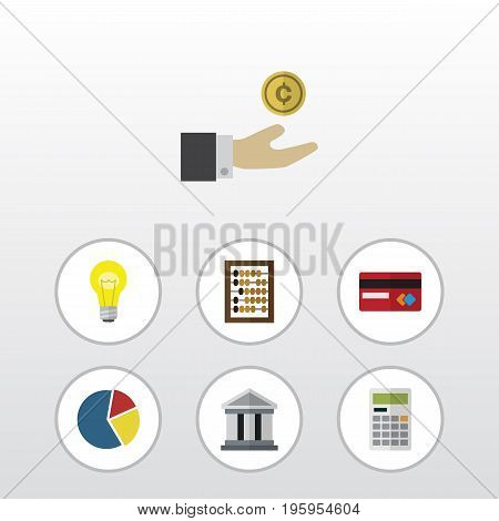 Flat Icon Incoming Set Of Bank, Counter, Calculate And Other Vector Objects