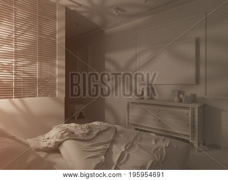 3d illustration bedroom interior design of a hotel room in a traditional Islamic style. Deluxe room background interior view decorated with arabian motifs. Night render scene in white without textures