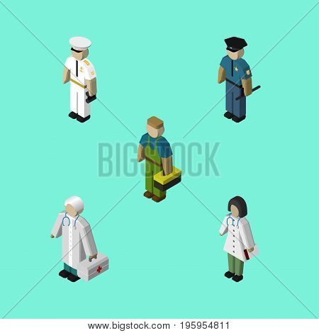 Isometric People Set Of Medic, Officer, Plumber And Other Vector Objects