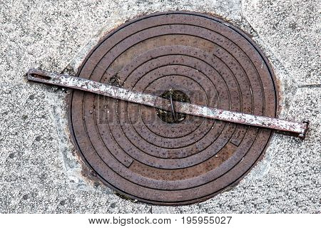 Sewer cover with anti theft block system