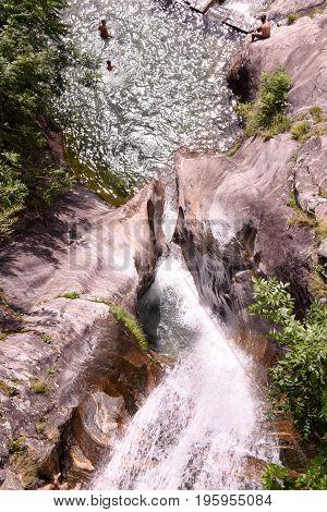 Santa Petronilla Waterfall In Biasca On The Swiss Alps