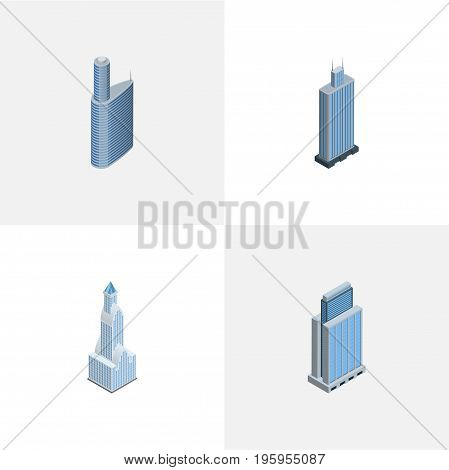 Isometric Skyscraper Set Of Urban, Building, Cityscape And Other Vector Objects