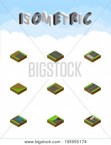 Isometric Way Set Of Underground, Rightward, Plash And Other Vector Objects