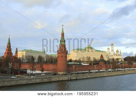 Moscow Russian Federation - February 05 2016: Traffic near Kremlin in Moscow