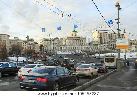 Moscow Russian Federation - February 05 2016: Traffic in Moscow