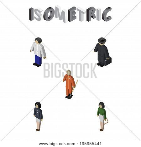 Isometric Human Set Of Detective, Male, Girl And Other Vector Objects