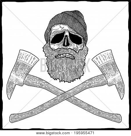 Lumberjack Effective Poster with skull in hat and beard vector illustration