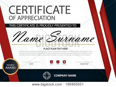 Red Elegance horizontal certificate with Vector illustration white frame certificate template with clean and modern pattern presentation