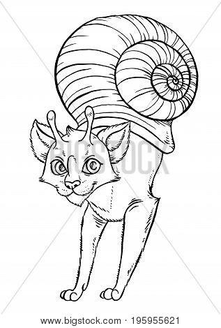Fantasy cartoon snail cat - vector illustration