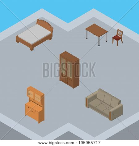 Isometric Furniture Set Of Cabinet, Couch, Bedstead And Other Vector Objects