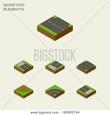 Isometric Way Set Of Bitumen, Footpassenger, Crossroad And Other Vector Objects