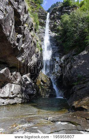 Santa Petronilla Waterfalls At Biasca On Cantone Ticino