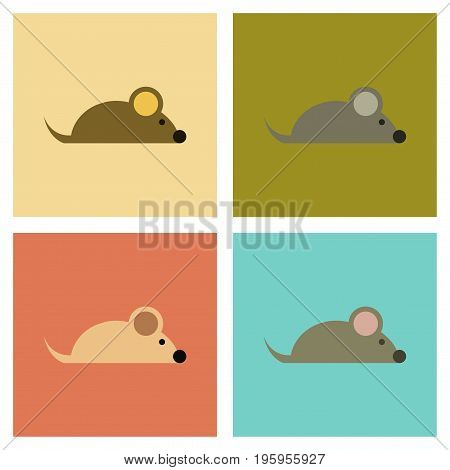 assembly of flat icons cartoon pet mouse