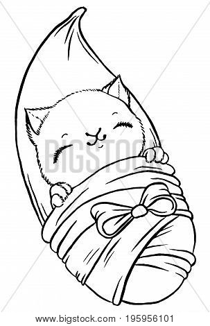 Cute baby kitten wrapped in blanket like newborn  - vector isolated illustration