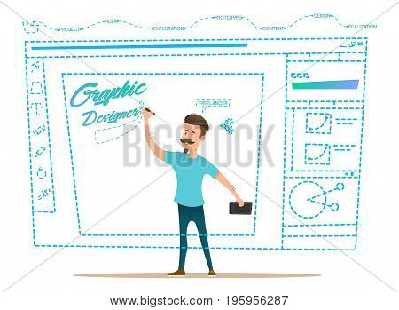 Innovation business style. Design in progress. Graphic designer is implementing a project on request. Freelancer doing his job