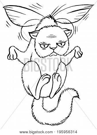 Sly cartoon cat flying on wings - vector illustration