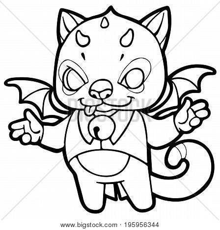 fantasy cartoon kitten with horns, wings and bells - fabulous little devil