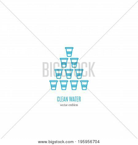 Vector logo design with cups. Perfect for business card, water delivery service. Cup tower isolated on white background.