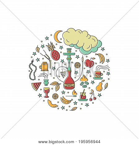 Hookah circle concept with line icons isolated on white background. Smoke tobacco, smoking pipe, hookah, charcoal and accessories. Labels for shop or hookah lounge. Smoke illustration