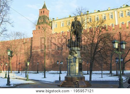 Moscow Russian Federation - February 05 2016: Monument to Alexander I in the Alexander Garden