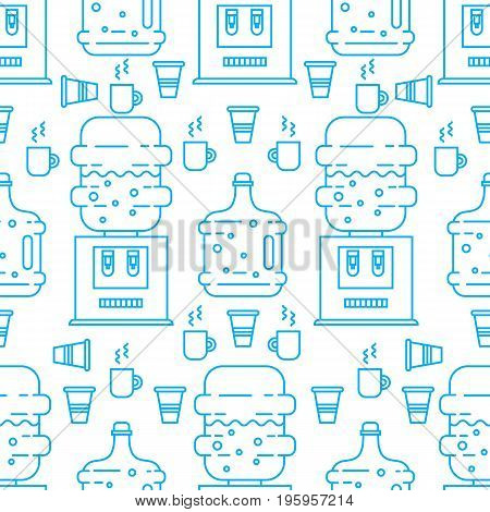 Vector seamless pattern with plastic cups and water coolers. Perfect for water delivery packaging design. Vector background.