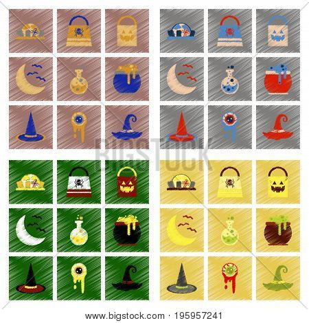 assembly flat shading style icons of halloween bag potion bottle moon bats cauldron zombie eyes bag gravestone witch hat