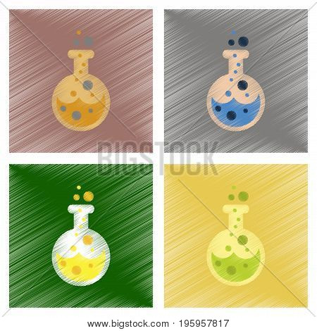 assembly flat shading style icons of halloween potion bottle