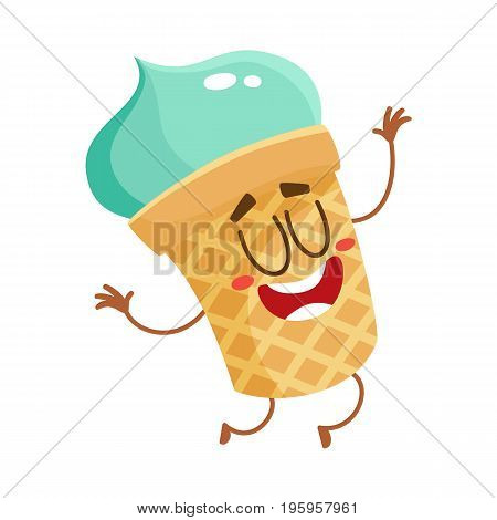 Funny smiling pistachio ice cream character in wafer cup, cartoon style vector illustration isolated on white background. Cute smiley pistachio ice cream cup character with eyes and legs