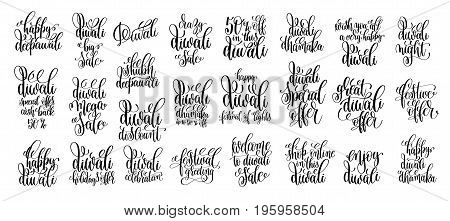 set of 25 calligraphy hand lettering inscription text about indian diwali festival, greeting card, holiday discount  or deepawali banner celebration, vector illustration collection