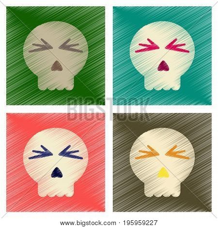 assembly flat shading style icons of halloween emotion skull