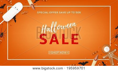 Orange web banner for halloween sale. Top view on paper bats, spiders and confetti. Vector illustration with cookies in form of skeleton gingerbread man. Special seasonal offer.