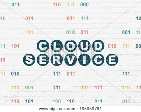Cloud technology concept: Painted blue text Cloud Service on White Brick wall background with Binary Code