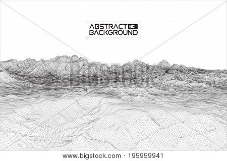 Abstract wireframe landscape background. Cyberspace grid. 3d technology wireframe illustration. Digital wireframe landscape .