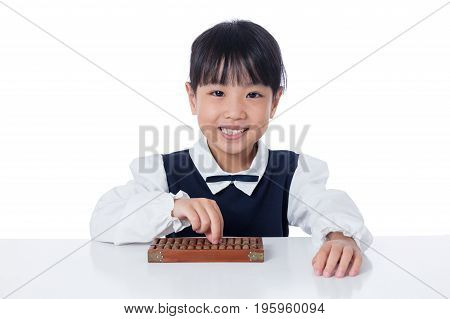 Asian Chinese Little Girl Playing Abacus